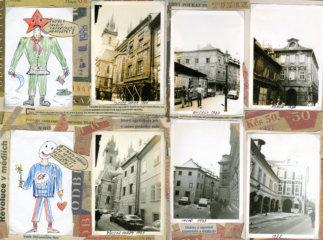 Koláž dokumentující společenskou a urbanistickou transformaci Prahy. Fotografie z let 1988 a 1993.